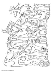 Cats And Dogs Coloring Pages Printable