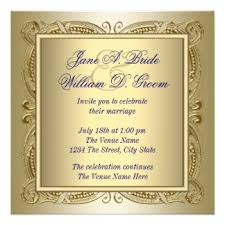 Elegant Royal Blue And Gold Wedding Card