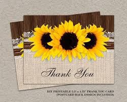 Rustic Sunflower Thank You Cards With Burlap And Lace DIY Printable Wedding Postcards Card