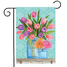 100 Fresh Home And Garden Briarwood Lane Cut Flowers Spring Flag Tulips Mason Jars 125x18