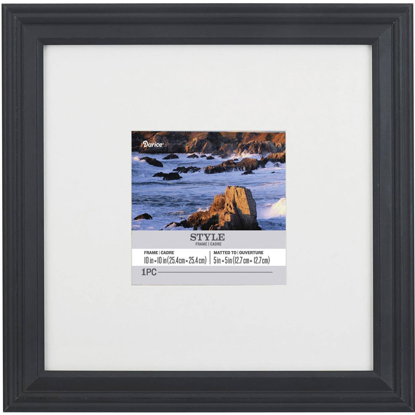 Darice Matted Picture Frame: Black, 10x10 to 5x5 Inches