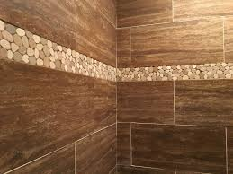 sliced and white pebble border shower accent subway tile outlet