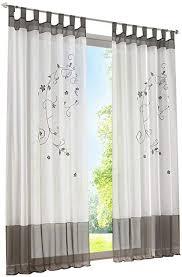 zalawis grau stickerei gardine vorhang schlaufenschal deko fuer wohnzimmer schlafzimmer studierzimmer 140x175cm