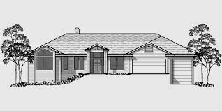 House Front Drawing Elevation View For 10072 Custom Ranch Plan W Daylight Basement And