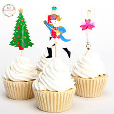 24pcs Christmas Tree Toppers Picks Cupcake Topper Baby Shower Supplies Kids Birthday Party Cake Baking Decoration