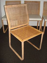 20th Century Rare Harvey Probber Woven Rattan Dining Chairs For Sale