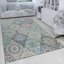 retro teppich bunt wohnzimmer rauten muster boho stil blumen design 3 d kurzflor