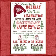 Holiday Christmas Ugly Sweater Party Invitation 4x6 Print At Home