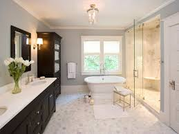 Faux Marble Hexagon Floor Tile by Espresso Cabinets Traditional Bathroom Clawson Architects