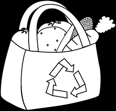 Black and White Eco Friendly Grocery Bag Clip Art Black and