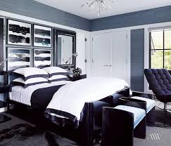 White and Blue Border Duvet and Shams Contemporary Bedroom