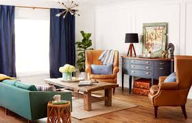 Rustic Living Room Wall Ideas by Mid Century Rustic Living Room Wooden Sideboard Blue Armchairs
