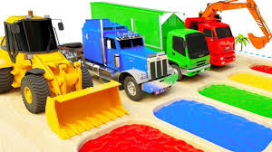 100 Balls On Trucks Learn Colors With Cars Excavator Tractor Van Trailer Truck And Balls