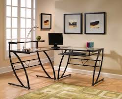 l shaped glass desk image all home ideas and decor l shaped