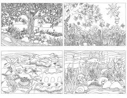 Items Similar To Printable Set Of 4 Assorted Nature Scenes Coloring Pages