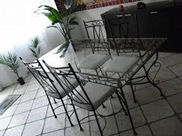 ensemble table avec allonge et chaises fer forgé meuble d