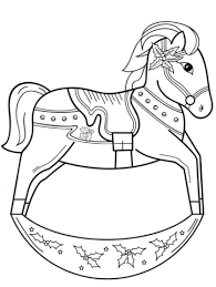Click To See Printable Version Of Christmas Rocking Horse Coloring Page