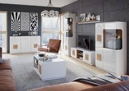 wohnwand wohnzimmer set wood sideboard lowboard vitrine hängeregal set mit beleuchtung