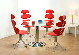 Red Dining Room Set Glass Top Table With Metal Base Kitchen And Chairs Contemporary Sets Plaid