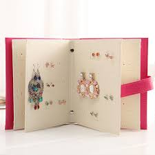 Fashion Design Jewelry Boxes And Packaging Pu Leather Stud Earrings Collection Book Creative Display