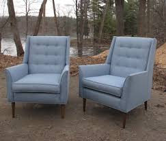 Johnson Carper Mid Century Dresser by Pair Of Mid Century High Back Wing Lounge Chairs After Paul Mccobb