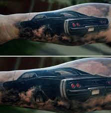 Burnout Muscle Car Tattoos For Men