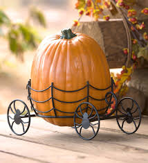 Gold Pumpkin Carriage Centerpiece by Halloween Pumpkin Carriage Stand With Spider Wheels Marya