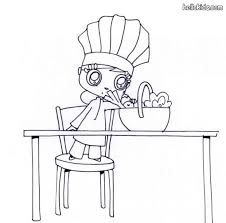 Girl Wearing A Chefs Hat Coloring Page