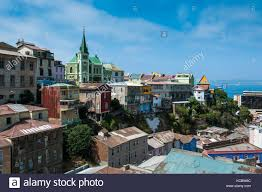100 Houses In Chile Overlook Over Colourful Houses Valparaiso Stock Photo