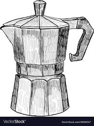 Sketch Of Coffee Maker Hand Drawn Vector Image