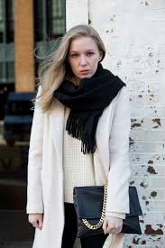 Emerson Fry Pale Pink Coat Looks Great Contrasted With Black Scarf And White Sweater