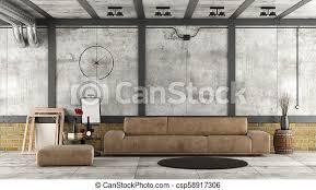 wohnzimmer in einem loft mit beton und ziegelwand