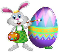 Easter Bunny and Colored Egg PNG Clipart Picture