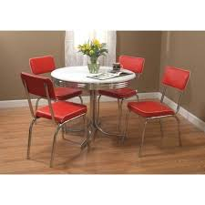 Retro Dining Table Set Vintage Red 4 Chairs Chrome Kitchen Diner Metal
