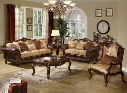 Vintage Living Room Furniture Brown Wood Drum Table Lamp Natural Wooden Laminate Flooring Tan Chair On Gray Rug Fancy Crystal
