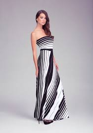 bebe striped tube maxi dress in white lyst