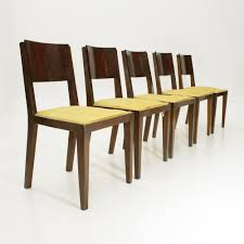 Set Of 5 Italian Wooden Art Deco Dining Chairs, 1940s