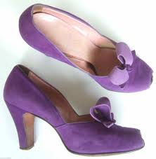 Uk Cute Vintage Heels S Purple Suede Court Shoes Bow Front Peep Lace Up Pumps Kicks