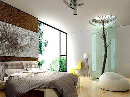Natural Accent Using White Color Bedroom Paint And Low Profile Bed Frame Also Ottoman Wide Open Window