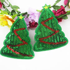 Christmas Tree Sequin Embroidery Patch Diy Clothing Applique Decoration DIY Accessories Sewing Supplies10Y50856