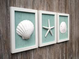 Etsy Bathroom Wall Art by Cottage Chic Set Of Beach Wall Art Sea Shells Home Decor