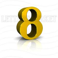 LettersMarket 3D Gold Number 8 isolated on a white background
