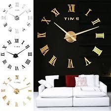 gold römischen ziffern designer wanduhr wandtatoo in 3d