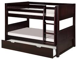 Camaflexi Twin Low Bunk Bed With Twin Trundle Panel Headboard