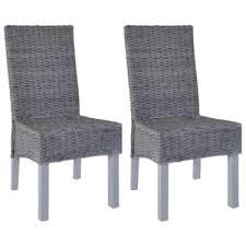 huicheng esszimmerstühle 2 stk grau kubu rattan und mangoholz