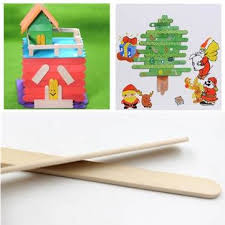 50PCS Wooden Popsicle Ice Cream Sticks Kids Arts Lolly Cake Craft DIY Handcrafts Materials