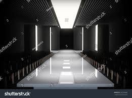 3D Illustration Of Fashion Empty Runway Before A Show