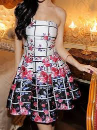 more than 70 off check and floral print strapless dress classic