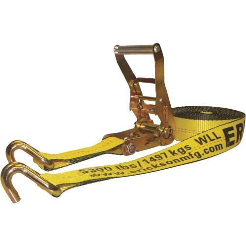 "Erickson 78627 Ratcheting Tie-Down Strap - with Double J-Hooks, 2"" x 27' 10,000lbs Load Limit"