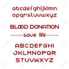 Round Blood Font Set Blood Donation Typeset Save Life Vector